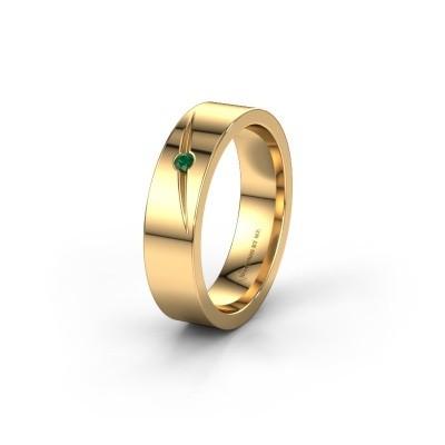 Trouwring WH0170L15A 375 goud smaragd ±5x1.7 mm