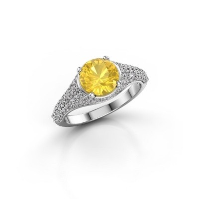 Foto van Ring Lovella 585 witgoud gele saffier 7 mm