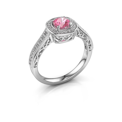 Verlovings ring Candi 585 witgoud roze saffier 5 mm