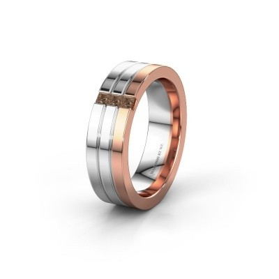 Wedding ring WH0428L16BP 585 rose gold brown diamond ±6x2 mm