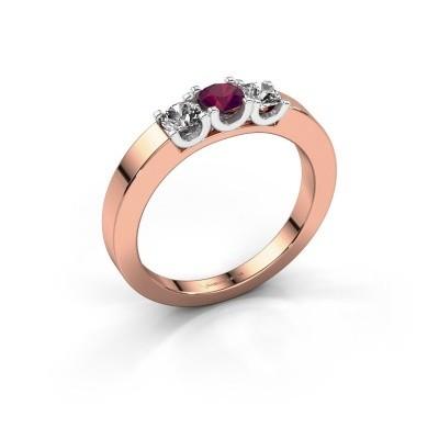 Foto van Verlovingsring Selina 1 585 rosé goud rhodoliet 3.7 mm