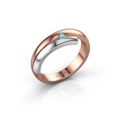 Ring Shela 585 rosé goud blauw topaas 2.2 mm