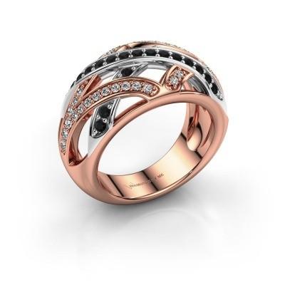 Ring Yinthe 585 rosé goud zwarte diamant 0.660 crt