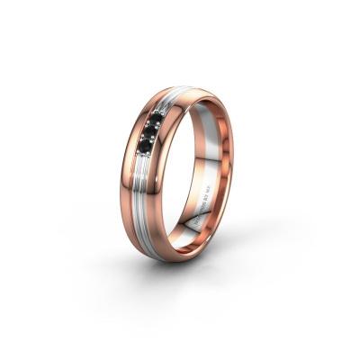 Trouwring WH0405L35X 585 rosé goud zwarte diamant ±5x1.5 mm