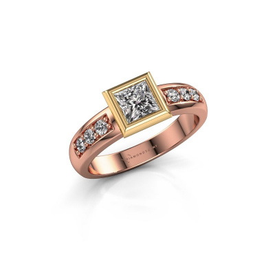 Stacking ring Lieke Square 585 rose gold diamond 0.680 crt