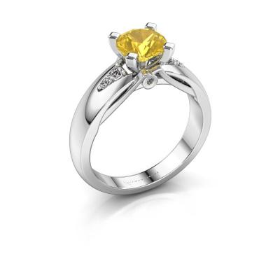 Verlovingsring Ize 925 zilver gele saffier 6.5 mm