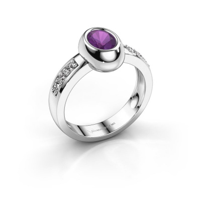 Ring Charlotte Oval 585 white gold amethyst 7x5 mm