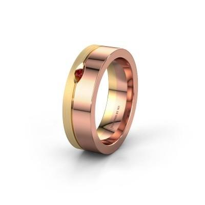 Wedding ring WH0329L16B 585 rose gold garnet ±6x2 mm