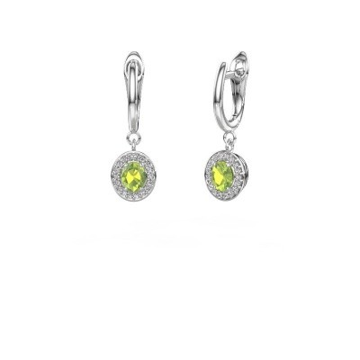 Drop earrings Nakita 585 white gold peridot 5x4 mm
