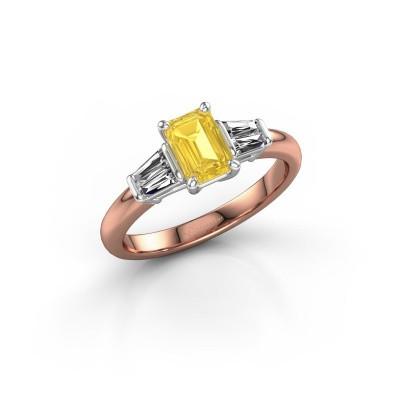 Foto van Verlovingsring Kina EME 585 rosé goud gele saffier 6.5x4.5 mm