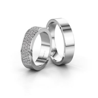 Foto van Trouwringen set WHR0292LM15AP ±5x2.3 mm 14 karaat witgoud zwarte diamant 0.012 crt