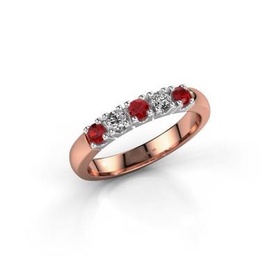 Foto van Ring Rianne 5 585 rosé goud robijn 2.7 mm