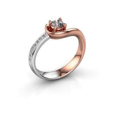 Foto van Ring Ceylin 585 rosé goud zirkonia 4 mm