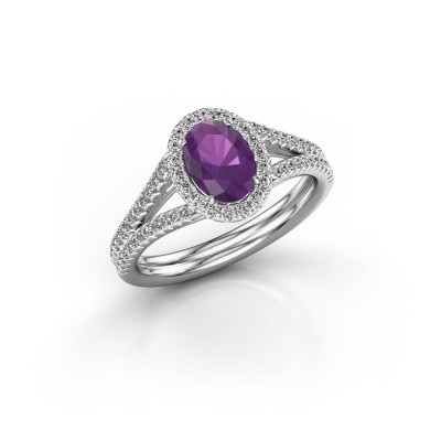 Engagement ring Rachele 2 585 white gold amethyst 7x5 mm