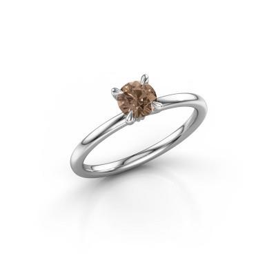 Verlovingsring Crystal RND 1 950 platina bruine diamant 0.50 crt
