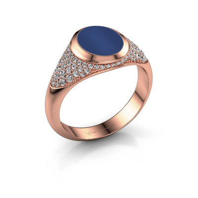 Foto van Zegelring Susana 585 rosé goud lapis lazuli 10x8 mm