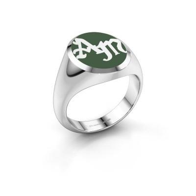 Monogram ring Brad Emaille 375 witgoud