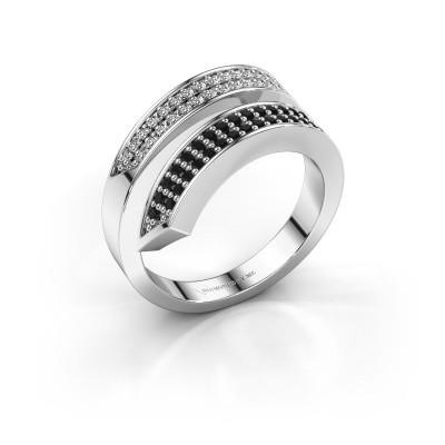 Ring Pien 585 witgoud zwarte diamant 0.495 crt