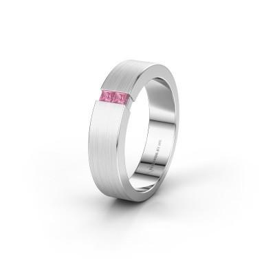 Trouwring WH2136L15E 585 witgoud roze saffier ±5x2.6 mm