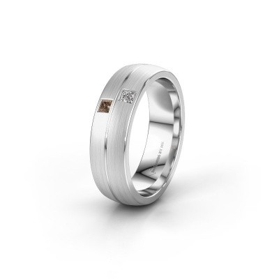 Wedding ring WH0250L26BM 950 platinum brown diamond ±0.24x0.08 in