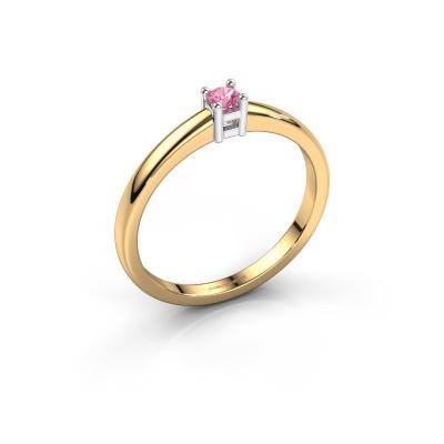 Promise ring Eline 1 585 goud roze saffier 3 mm