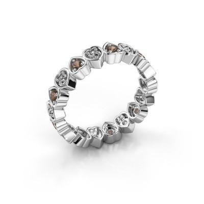 Stackable ring Pleun 375 white gold smokey quartz 2 mm