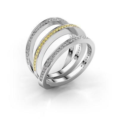 Ring Jaqueline 950 platina gele saffier 1 mm