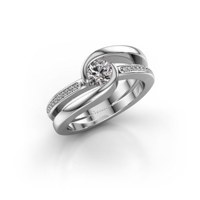Foto van Ring Xenia 2 375 witgoud zirkonia 5 mm
