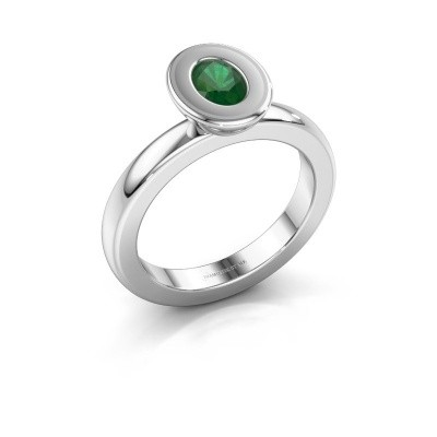 Stapelring Eloise Oval 925 zilver smaragd 6x4 mm