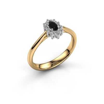 Photo de Bague de fiançailles Leesa 1 585 or jaune diamant noir 0.60 crt