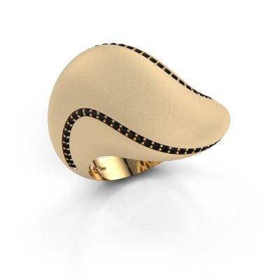 Foto van Ring Phyliss 375 goud zwarte diamant 0.432 crt