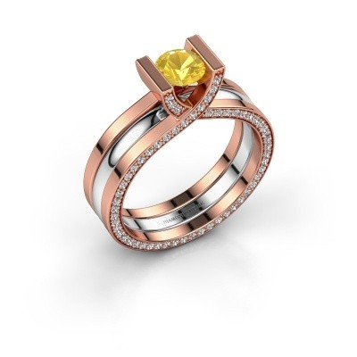 Foto van Ring Kenisha 585 rosé goud gele saffier 5 mm