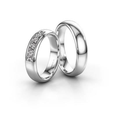Photo de Alliances set WH0111LM35BP ±5x2 mm 14 Carat or blanc diamant 0.08 crt