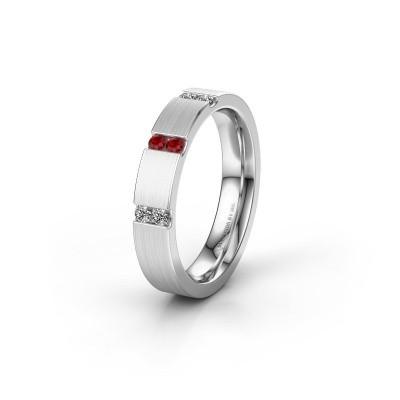 Wedding ring WH2133L14BM 585 white gold ruby ±4x2.2 mm