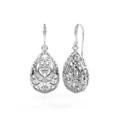 Picture of Drop earrings Idalia 2 585 white gold diamond 0.105 crt
