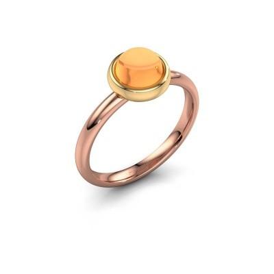 Ring Blossom 585 rosé goud citrien 6 mm