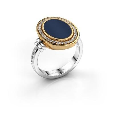 Foto van Heren ring Servie 585 witgoud donker blauw lagensteen 14x10 mm