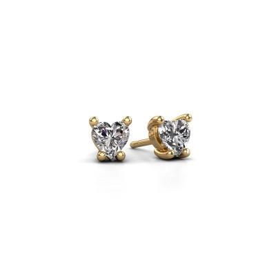 Foto van Oorbellen Sam Heart 375 goud diamant 0.50 crt