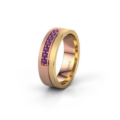 Trouwring WH0312L16AM 585 rosé goud amethist ±6x1.7 mm