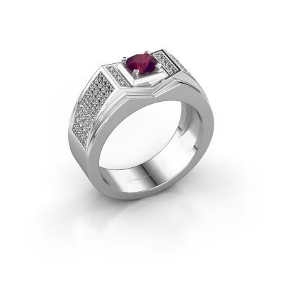 Foto van Heren ring Marcel 375 witgoud rhodoliet 5 mm