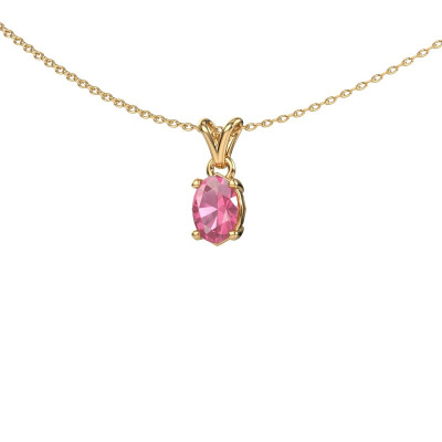 Bild von Kette Lucy 1 375 Gold Pink Saphir 7x5 mm