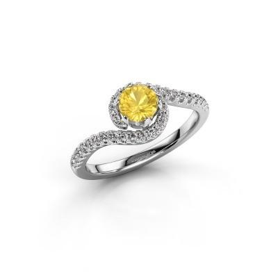 Engagement ring Elli 585 white gold yellow sapphire 5 mm