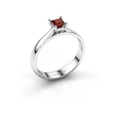 Engagement ring Sam Square 585 white gold garnet 4 mm