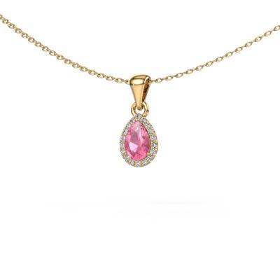 Halskette Seline per 375 Gold Pink Saphir 6x4 mm