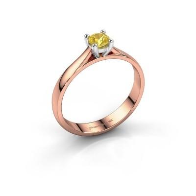 Foto van Verlovingsring Sam 585 rosé goud gele saffier 4.2 mm