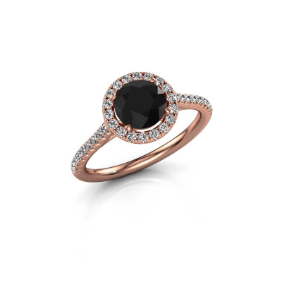 Photo de Bague de fiançailles Seline rnd 2 375 or rose diamant noir 1.64 crt