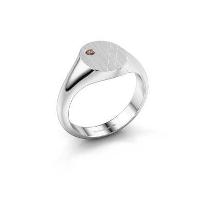 Foto van Pinkring Finn 3 925 zilver bruine diamant 0.03 crt