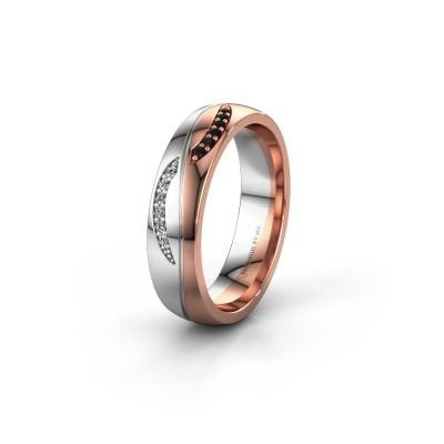 Trouwring WH2118L25A 585 rosé goud zwarte diamant ±5x1.7 mm