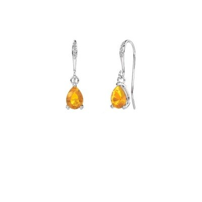 Picture of Drop earrings Laurie 2 950 platinum citrin 7x5 mm