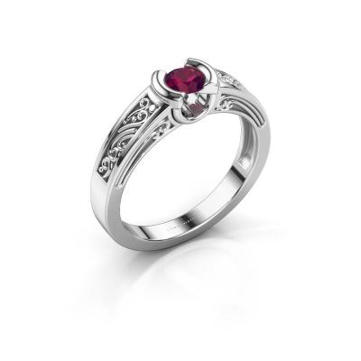 Ring Elena 585 white gold rhodolite 4 mm